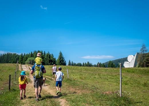 Family walk on the Plateau des Glières